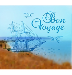 Summer background with sailing ship vector