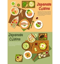 Traditional japanese seafood dishes flat icon vector image