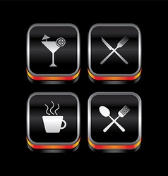 Metal plate restaurant theme icon button vector