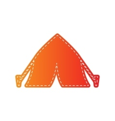 Tourist tent sign orange applique isolated vector