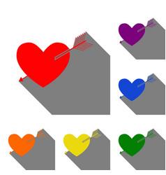 Arrow heart sign set of red orange yellow vector