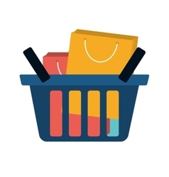 basket shopping many bag gift vector image