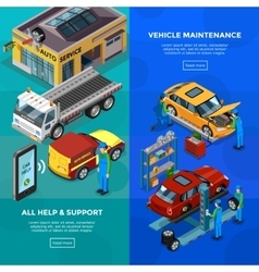 Car service isometric vertical banners vector