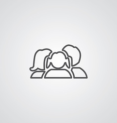 family outline symbol dark on white background vector image