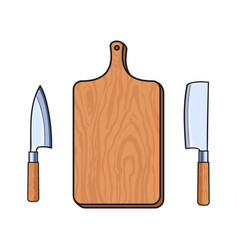 Flat cutting board cleaver carving knifes vector