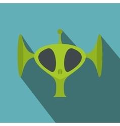 Green alien head flat icon vector image