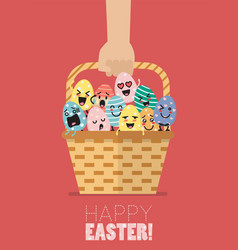 hand holding wicker basket with easter eggs vector image vector image