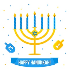 Hanukkah card with menorah and dreidel vector