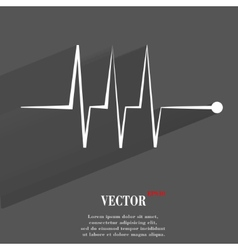 Heart rhythm flat modern web button with long vector