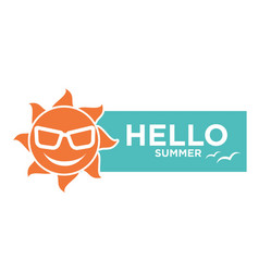 Hello summer holiday logo design isolated on white vector
