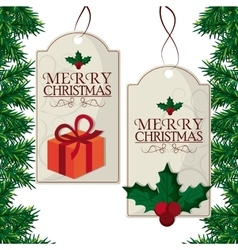 Merry christmas labels design vector