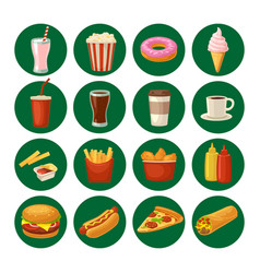 Set fast food icon cup cola hamburger pizza vector