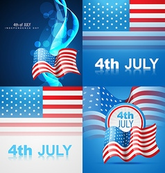 Set of american flag design of 4th july vector