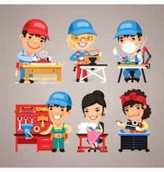 Set of Cartoon Workers at their Work Desks vector image vector image
