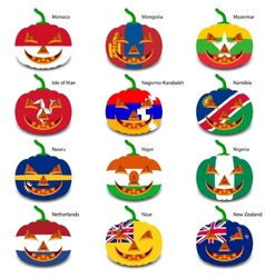 Set pumpkins for Halloween as a flags of the world vector image vector image
