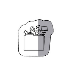 Sticker monochrome contour of folder with personal vector