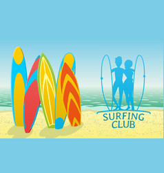 surfing club design with surfboards vector image