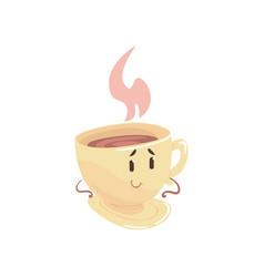 tea cup cartoon character element for menu of vector image