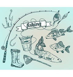 The drawn set fishing Rod salmon perch bucket fish vector image