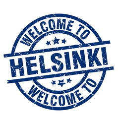 welcome to helsinki blue stamp vector image