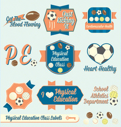 Vintage physical education class labels and icons vector