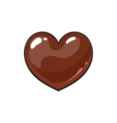Heart shaped dark chocolate candy vector