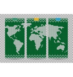 World map business cards set green knitting vector
