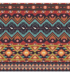 Aztecs seamless pattern on hot color vector image