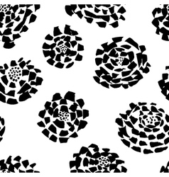 Ink seamless pattern with flowers in sketchy style vector