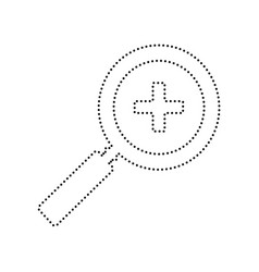 Zoom sign   black dotted icon vector