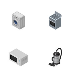 isometric device set of laundry stove vac and vector image