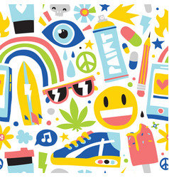 Summer weed vibes cartoon hipster objects seamless vector