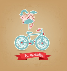 Be my valentine romantic with umbrella and bicycle vector