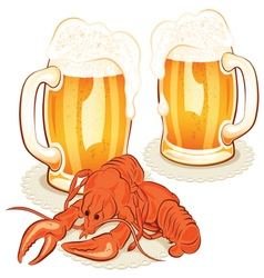 Crayfish and wine glass with the beer vector