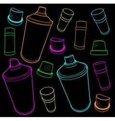 Graffiti tools icon collection spray-can and cap o vector
