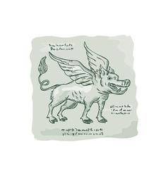 Wild boar wings side etching vector