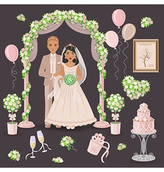 Wedding decoration in cream color vector