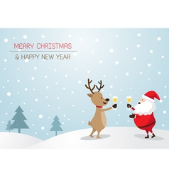 Santa claus and reindeer drinking champagne vector