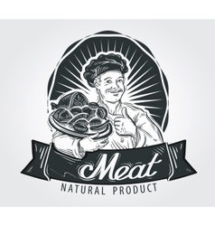 Meat products logo design template cooking vector