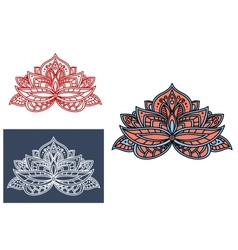 Indian flower adorned by cyan paisley ornament vector