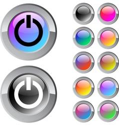 Power multicolor round button vector image