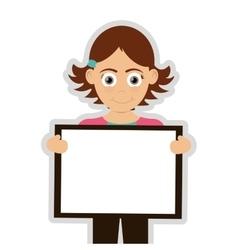 happy girl holding board icon vector image
