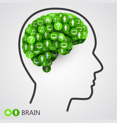 Abstract concept of brain circles with thoughts vector