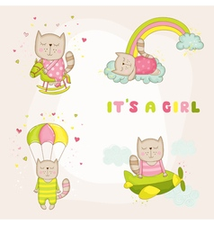 Baby girl cat set - baby shower or arrival card vector