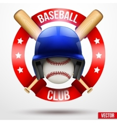 Baseball ball and helmet with ribbons vector