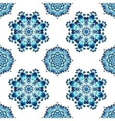 Blue ukrainian painting style Petrikovka seamless vector image vector image