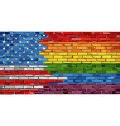 Brick wall usa and gay flags vector