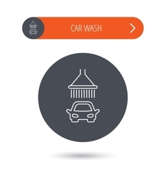 Car wash icon cleaning station with shower sign vector