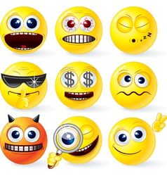cartoon smilies emoticons set vector image vector image