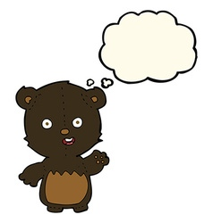 Cartoon waving black bear cub with thought bubble vector
